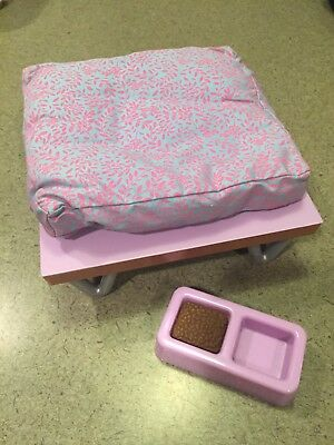AMERICAN GIRL DOG PET BEDS: PLATFORM W/PILLOW and FOOD BOWL