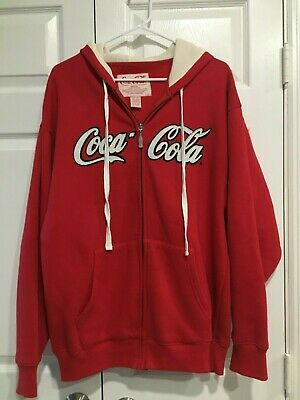 COCA-COLA Red Zipper Hoodie Size Medium Excellent Condition