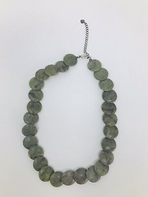 Natural Green Aventurine Top Quality Carved Stone Necklace Sterling Silver Clasp