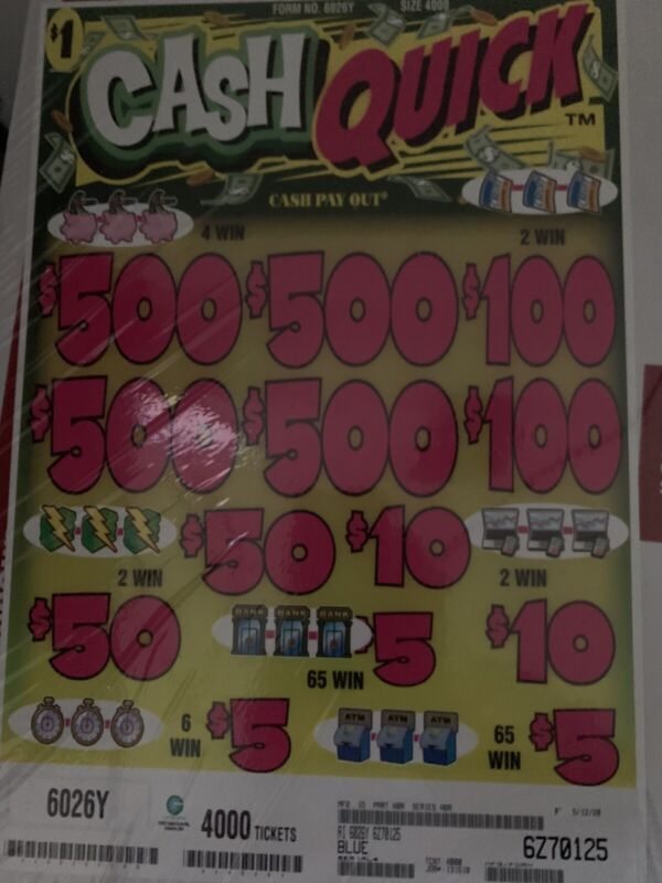 Cash Quick 5 Window Pull Tab Tickets. Good Game Beautiful Colors. Good Prices