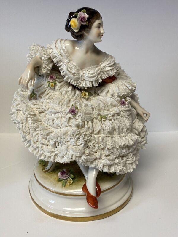 Antique German Dresden Volkstedt Lace Large Porcelain Figurine Of Ballerina Rare