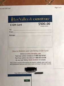 $500 Lee Valley Gift Card
