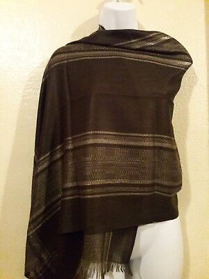 Mexican rebozo shawl headband belt scarf color Brown Chololate with strip gold -