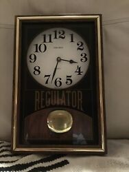 "Vintage Wood Glass Verichron Quartz Regulator Wall Clock ""Made In USA"""