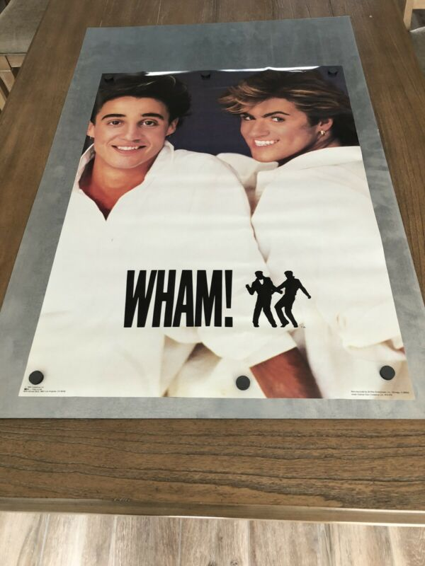 "NEW OLD STOCK 1984 VINTAGE ORIGINAL GEORGE MICHAEL WHAM WALL POSTER 28"" X 22"""
