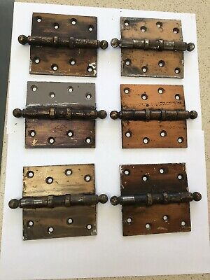 "Set Of Six Vintage Reclaimed Brass Finish Steel 4"" Ball Top Door Hinges (1)"