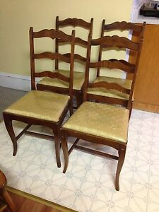 Set of Four Study Vintage Ladder Back Chairs
