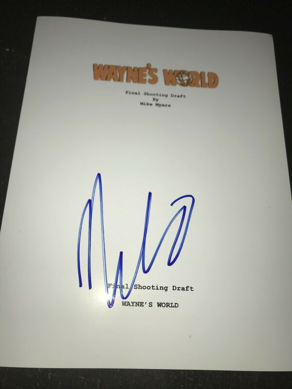 MIKE MYERS SIGNED AUTOGRAPH WAYNES WORLD SCRIPT MOVIE SCREENPLAY COA AUTO RARE