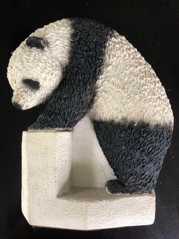 "Heavy Playful Panda Statue/Figurine by Marian Weisberg- 8"" tall"