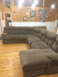 Grey Brown Suede Couch