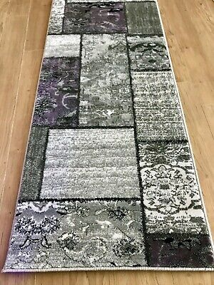 2x8 Läufer Teppich (2x8 Runner Rug Patchwork Contemporary Modern Floral French Gray & Purple New )