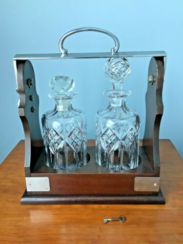 Antique English Tantalus, Signed Crystal Decanters with KEY