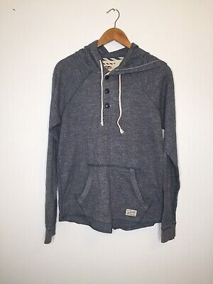 VANS Hoodie Small Blue Jumper Curved Off The Wall Skater Casual Hooded G1
