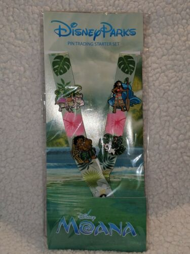 Disney Parks Moana 4-Pin Trading Starter Pack Lanyard Set New