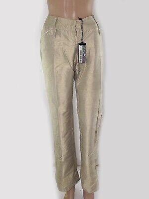 motivi pantalone donna beige bootcut pura seta made italy taglia it 46 w 32