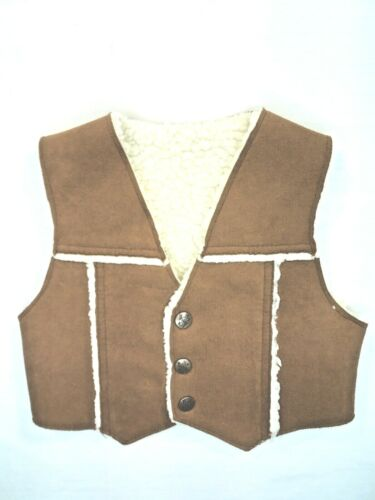 Vintage Billy the Kid Faux Suede Shearling Snap Vest Childs Size 3T FREE SHIP
