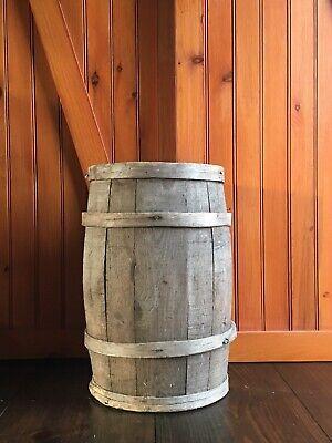 Antique Wooden Banded Nail Keg Barrel ~ Signed Chesapeake