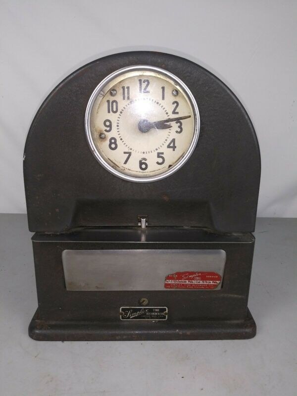 Vintage Simplex Time Recorder Keeper Punch Clock