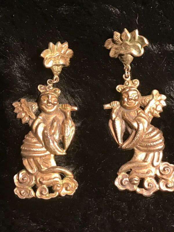ANTIQUE UNIQUE CHINESE EXPORT EARRINGS 1800