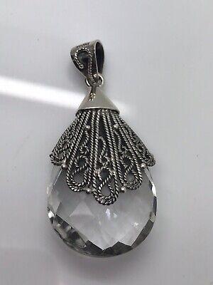 Artisan Crafted Sterling Crystal Quartz Gemstone Briolette Drop Pendant