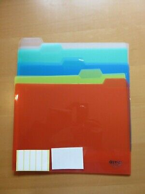 5-tab Translucent Poly File Folders Assorted Colors 10pack