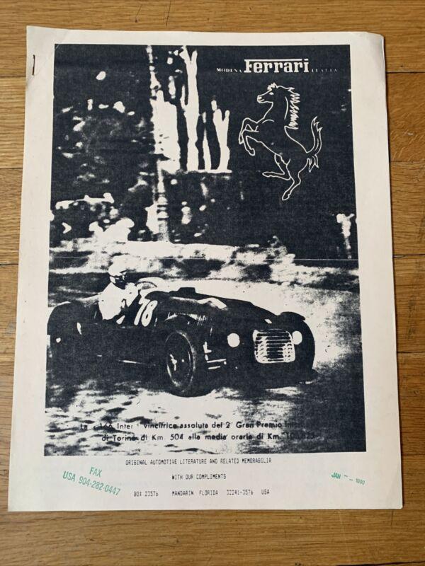 Ferrari Literature Advertisement - Long list of Ferrari Literature - Jan. 1990