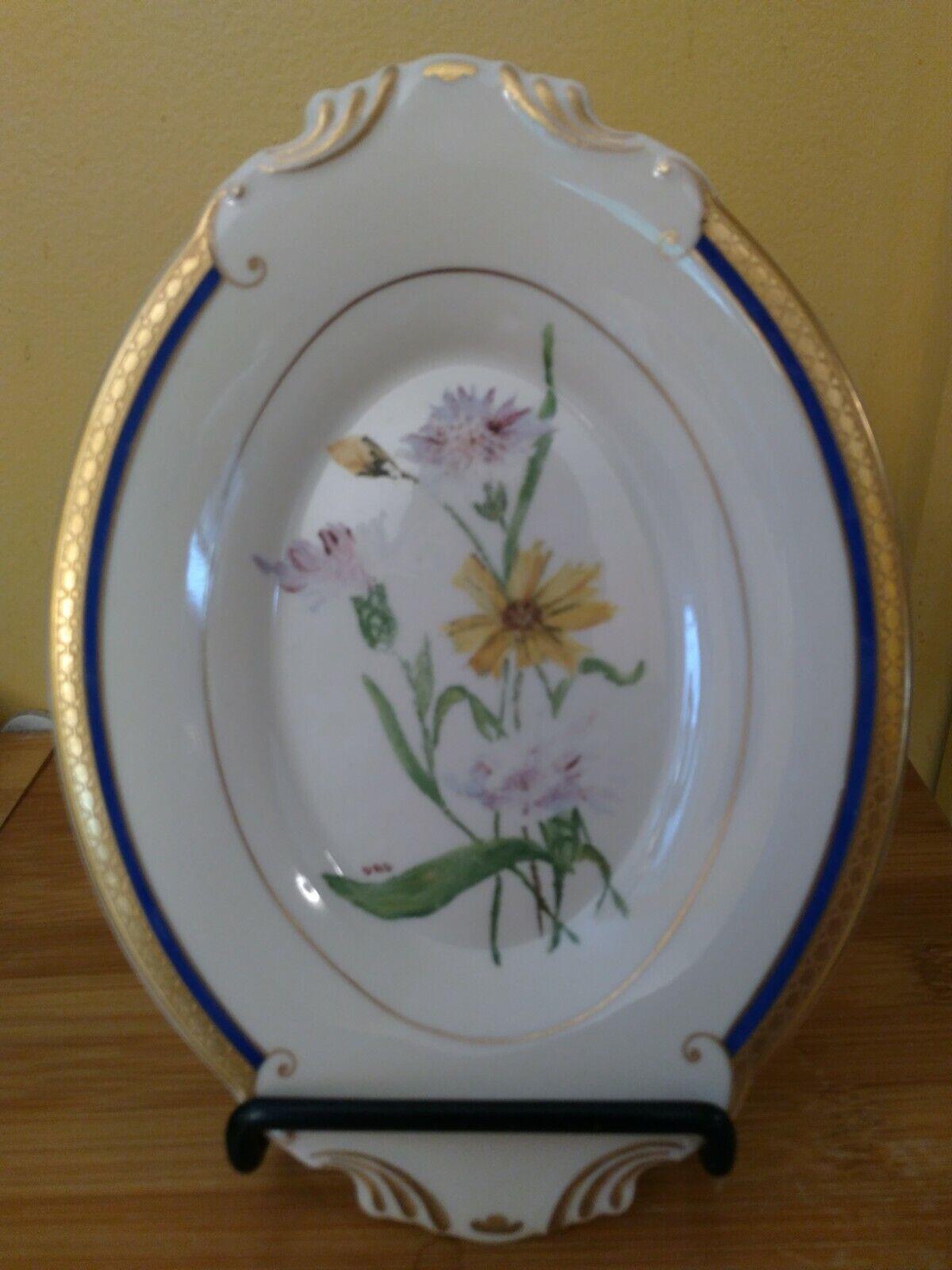 Syracuse China Old Ivory WAYNE Blue RELISH Under PLATE HANDPAINTED SIGNED No. 8 - $9.99
