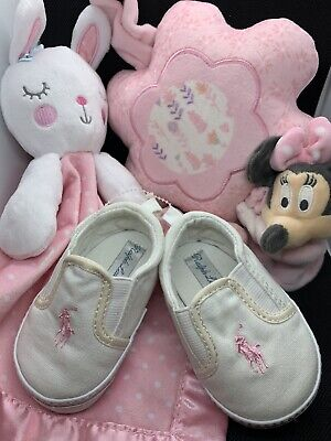 Baby Girl Gift Lot: Disney Musical Mobile, Ralph Lauren Shoes, Circo Bunny Lovey