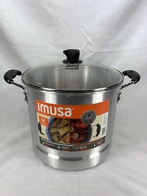 IMUSA 16 quart Tamale/Seafood Steamer Glass Lid with Cool Touch Handles