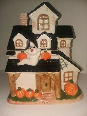 Halloween Haunted House Ceramic Cookie Jar Ghost And Pumpkins And Spiderwebs *