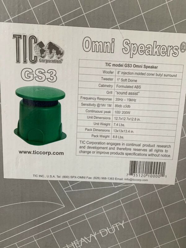 TIC OmniSpeaker Outdoor Speaker 8Ohm Surface Mount Green GS3