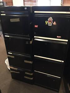 3 x black 4-drawer filing cabinets (2 with keys, 1 locked no key) Woollahra Eastern Suburbs Preview