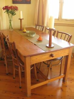 Old pine Australian farmhouse table and 6 Singaporean chairs