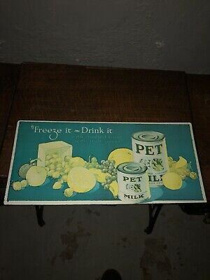 VINTAGE PET MILK TIN ADVERTISING SIGN 1927 BY MARK KAISER #2218