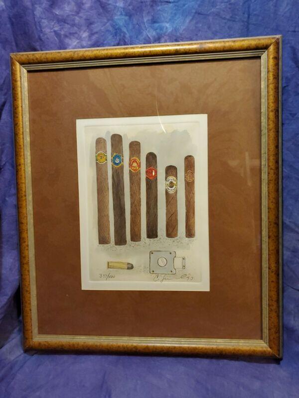 Charles Leonard Signed Vtg Cuban Cigar Etching Print lithograph Art Framed Cuba