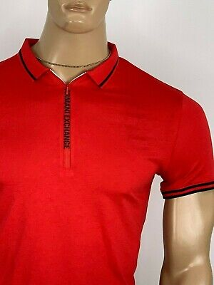 Armani Exchange Authentic Signature Zip Logo Polo Shirt Red NWT