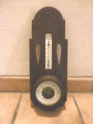 Wetterstation antik Barometer Thermometer Holz Jugendstil Porzellanskala