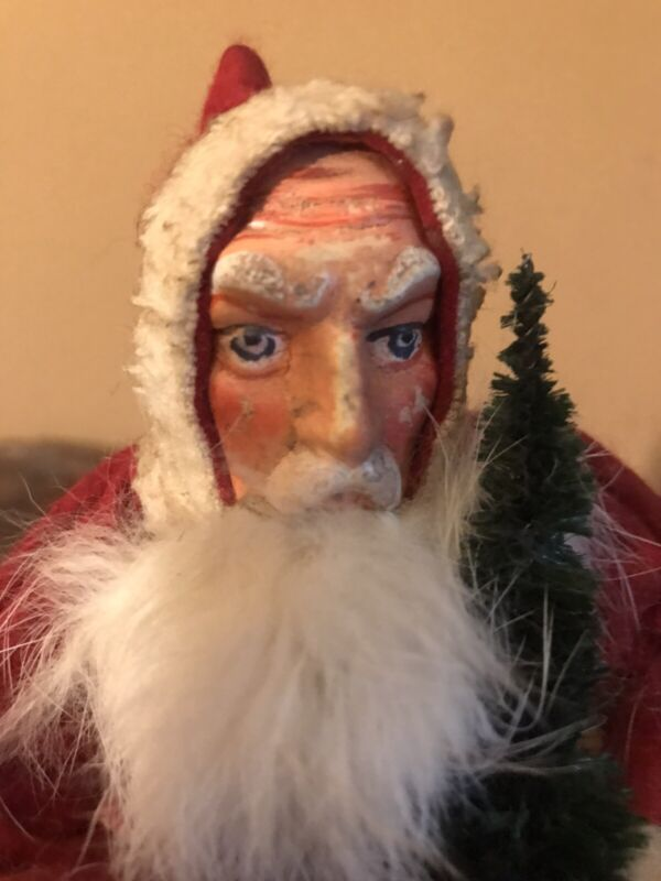 """Antique 8"""" German Santa Claus on Skiis Candy Container"""