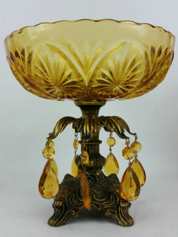 Vintage Cut Glass Compote Bowl 7 Prisms Brass Pedestal Base Hollywood Regency
