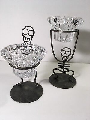 Set Of Two Metal Skeleton And Cut Glass Candle Holders - Halloween Glass Candle Holders