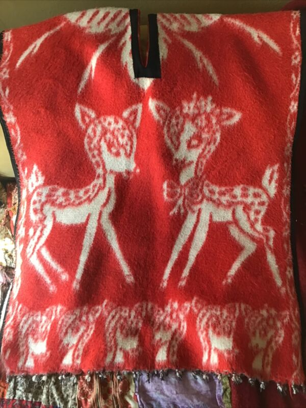 Vintage reindeer Red and white Wool Blanket Fringed Poncho Free Size