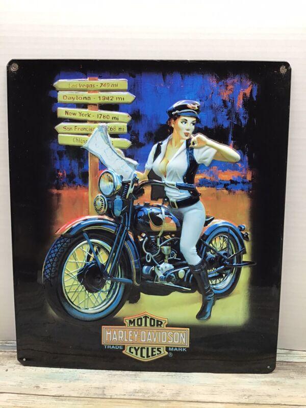 Harley-Davidson Metal Sign,A Girl On A Harley 12x15