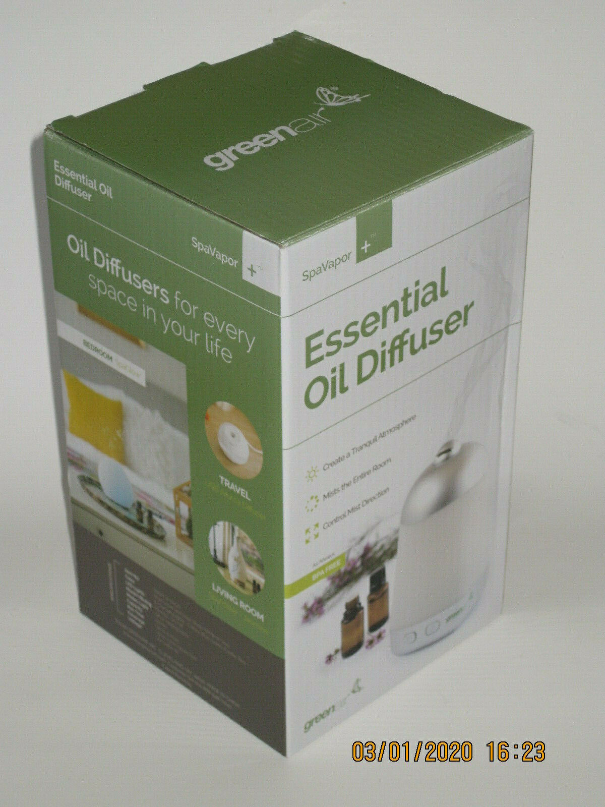 Spa Vapor + Green Air New in Box Aromatherapy Diffuser Plus