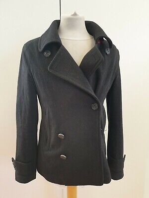 HH114 MENS SUPERDRY GREY DOUBLE BREASTED COLLARED WOOL PEA COAT UK S SLIM FIT
