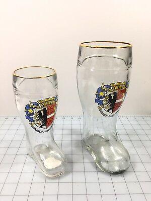 2 German Glass Boot Beer Glasses .5 Liter And 1 Liter Garmisch Partenkirchen](Boot Glasses)