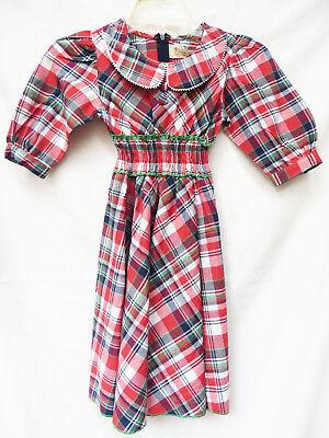 Vtg LELE FOR KIDS Girls Red Retro Mod Schoolgirl Prairie Western Plaid Dress 7 8
