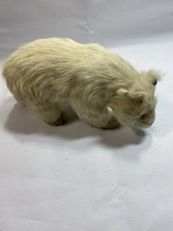 Vintage Real Fur Polar Bear White 10 Inches Figure H1