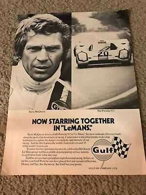 Vintage 1971 STEVE MCQUEEN LEMANS GULF MOVIE Poster Print Ad PORSCHE 917 CAR