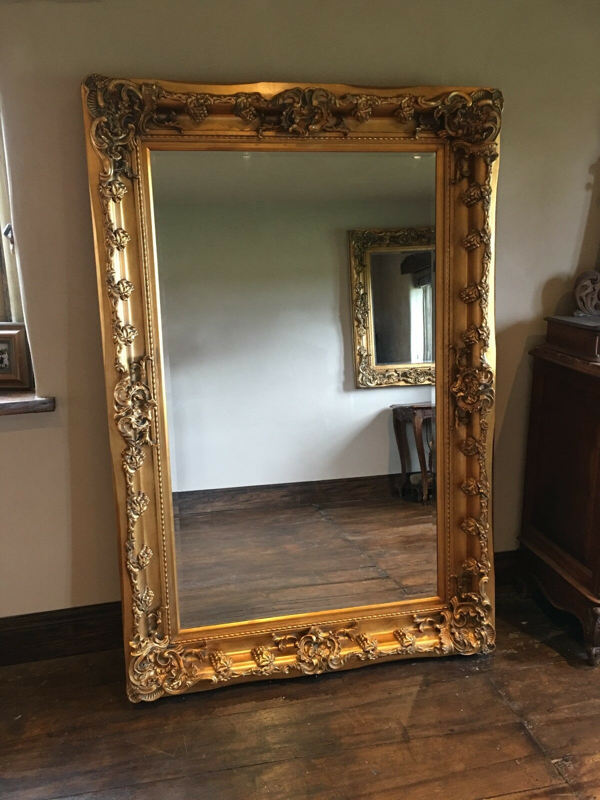 96fc1cf119d4 Details about Antique Gold Large French Leaner Ornate Wall Statement Dress  Tall Floor Mirror