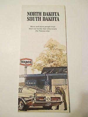 Vintage 1971 TEXACO NORTH DAKOTA SOUTH DAKOTA Oil Gas Service Station Road Map